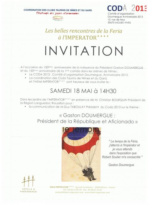 Exposition Gaston Doumergue à la féria 2013 de Nimes